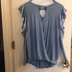 Long sleeve light blue blouse